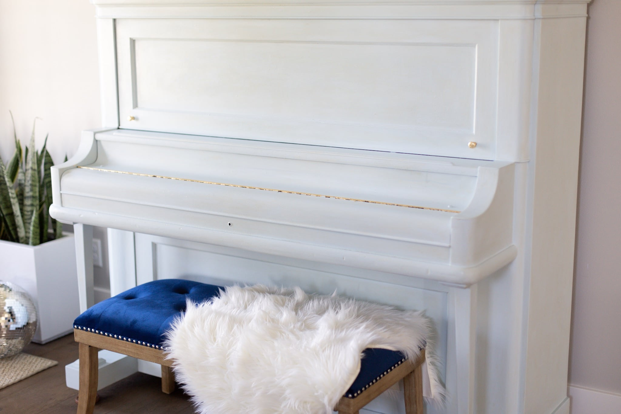 painted piano with gold leaf