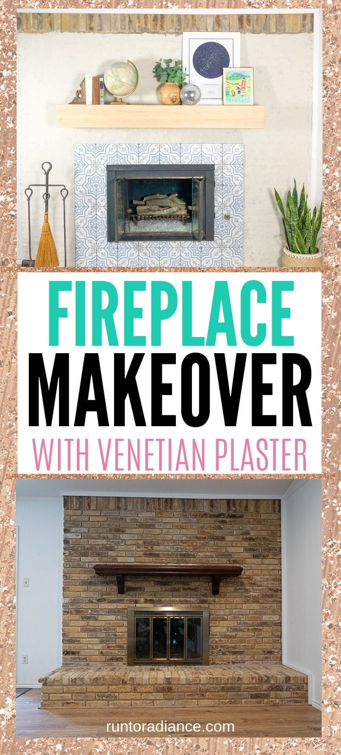 Brick fireplace makeover with venetian plaster and blue patterned tile, with a floating wood mantle.