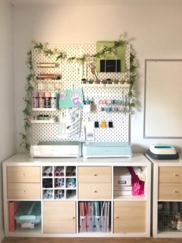 Ikea Kallax in a craft room with ikea peg board.