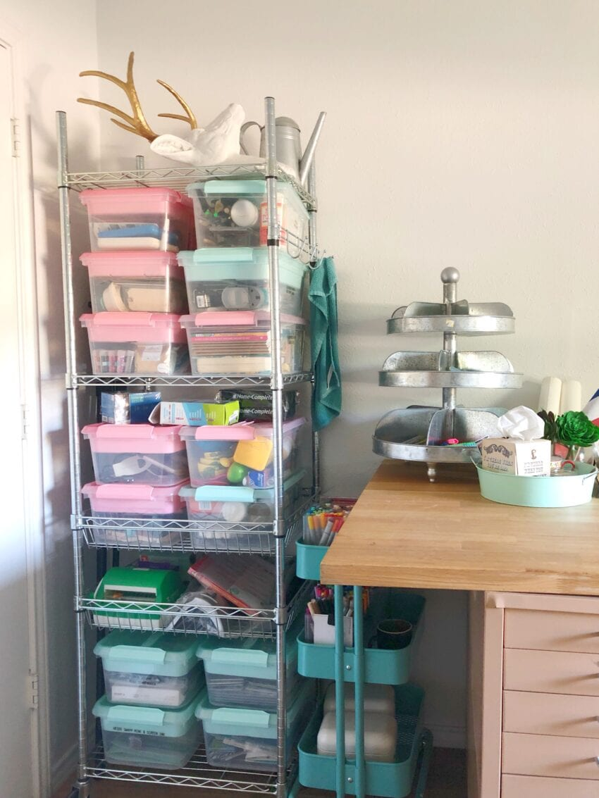 Craft room storage ideas - tall tower with storage and rolling ikea cart.