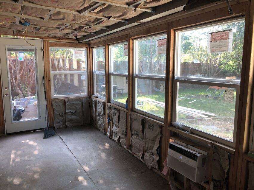 Air conditioner unit within a diy sunroom