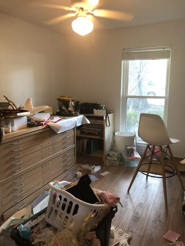 Before photo of messy craft room