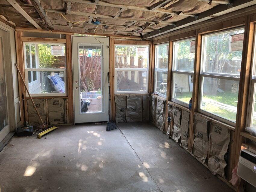A porch converted into a diy sunroom