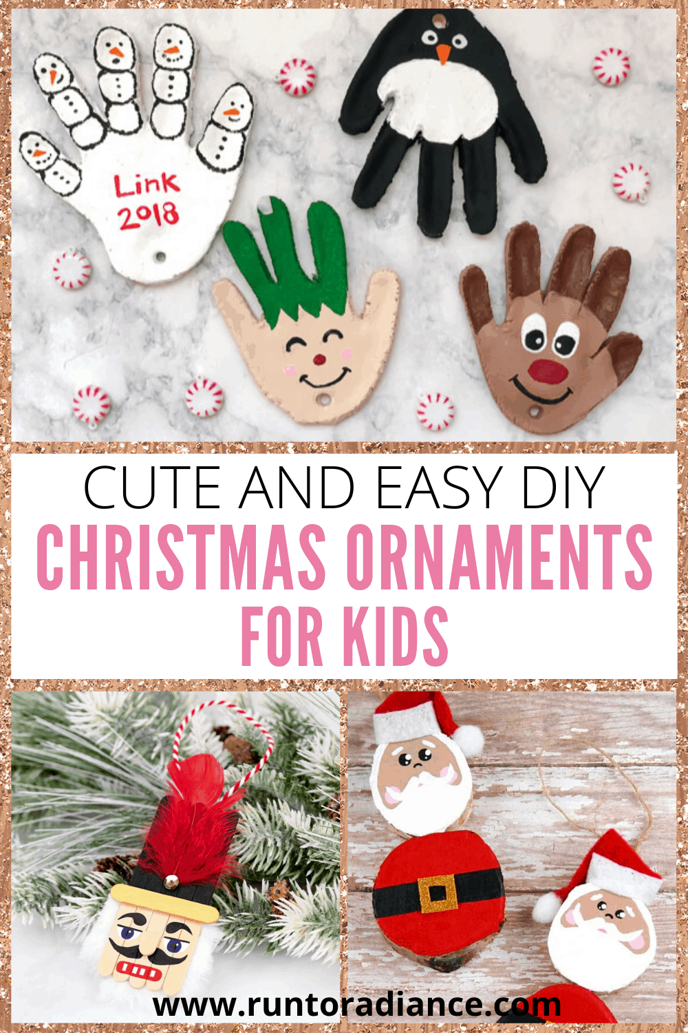 Collection of DIY Christmas ornaments for kids.