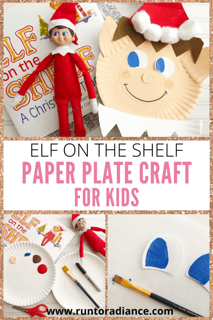 Collage with elf on the shelf paper plate craft.