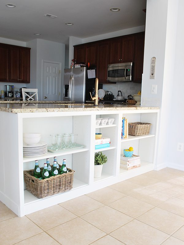 kitchen countertop with white shelves