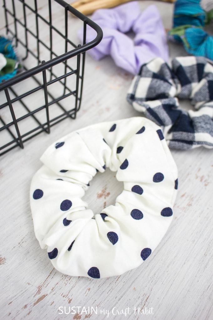 blue polka dot white scrunchie