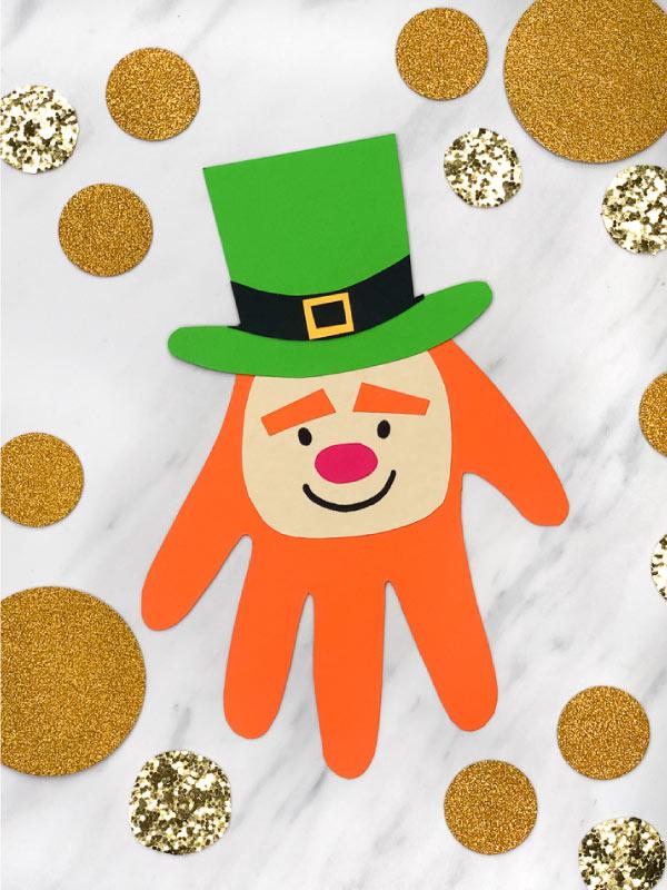 St. Patrick's Day Crafts - Leprechaun Hand print craft
