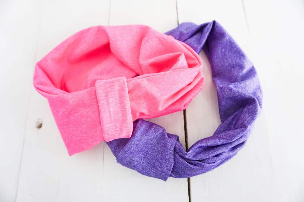 pink and purple homemade scrunchies