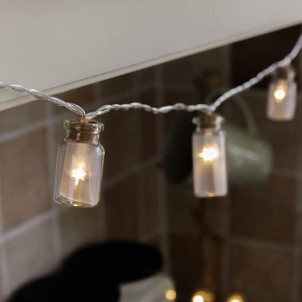 glass jar string lights