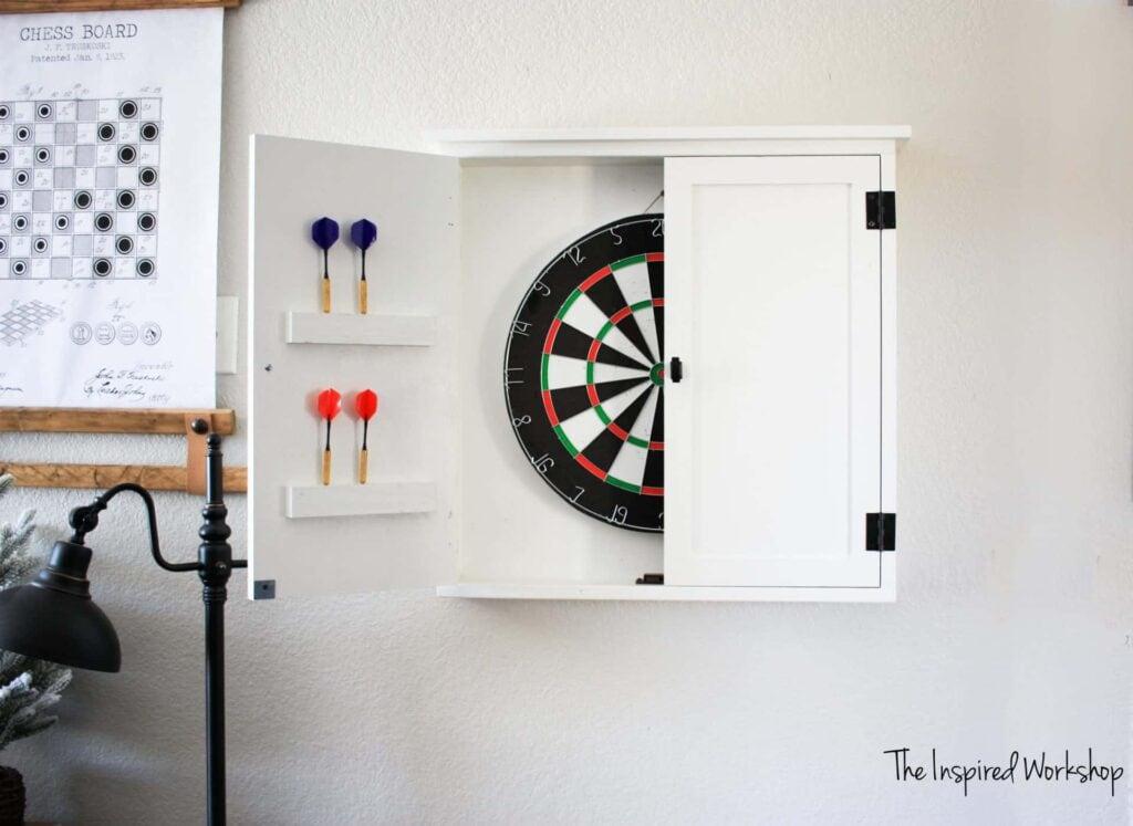 A white darts cabinet