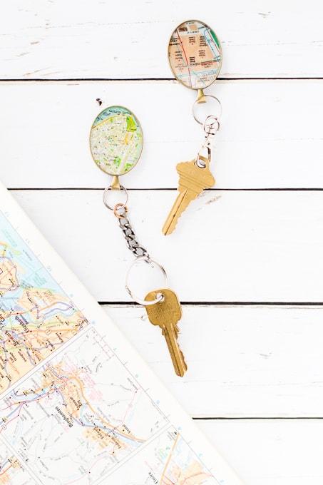 DIY map keychains