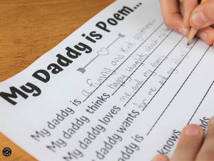 A child filling out the my daddy is poem card