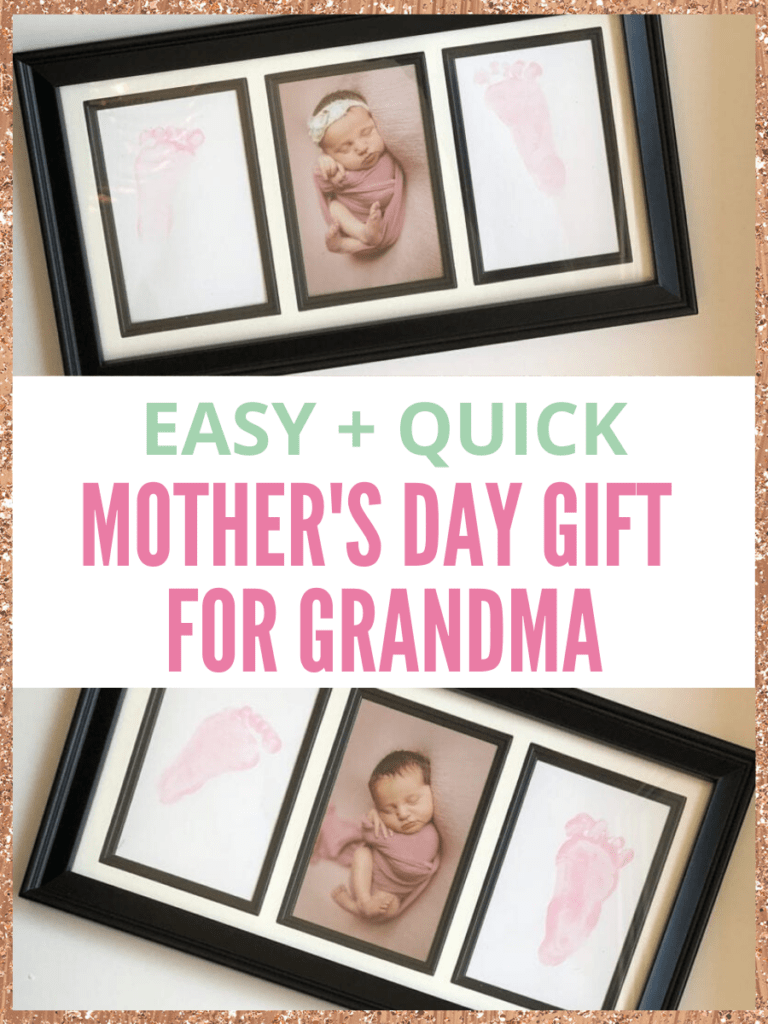 Framed baby footprints as a mother's day gift for grandma