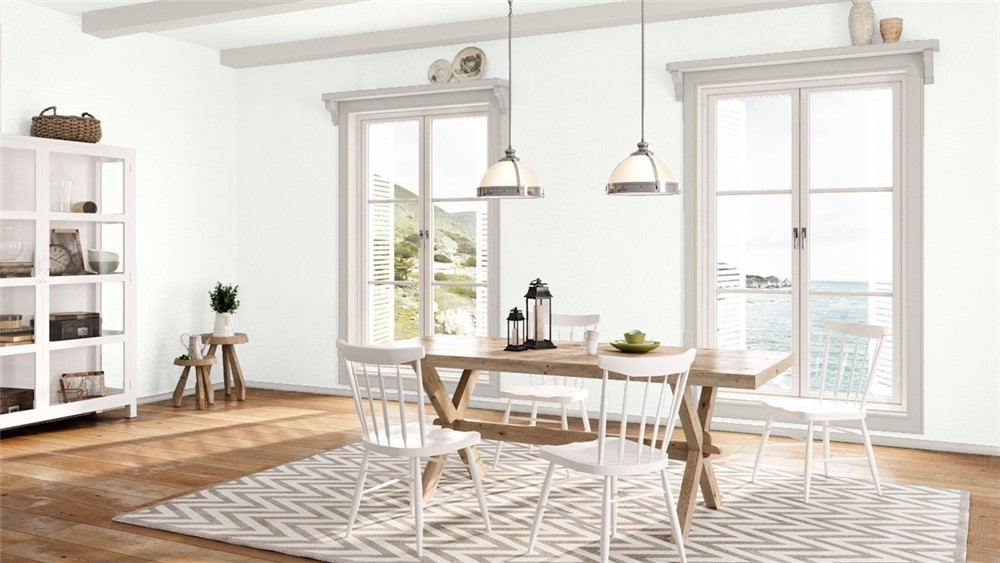 Large dining room with lots of natural light, white walls and trim Wish by Benjamin Moore.