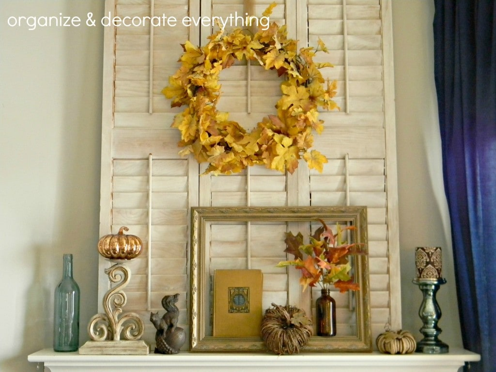 A rustic and vintage-inspired fall mantel from Organize Your Stuff Now