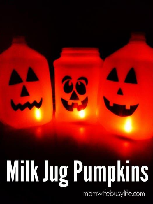 Pumpkin lanterns made from milk jugs are a great DIY Halloween decor idea.