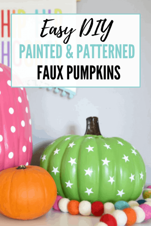 Easy DIY decor for Halloween: colorful pink and green painted pumpkins with polka dots and stars.