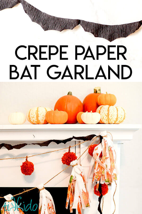 Black creepy paper bat garland is an easy and cheap DIY Halloween decor idea.