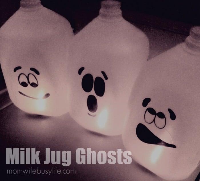 Milk jug ghost DIY Halloween decor