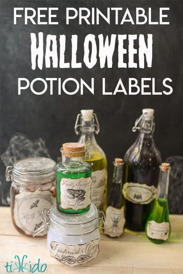 Potion bottle DIY Halloween decor with printable labels.