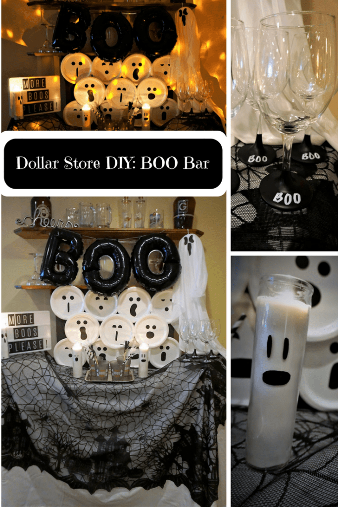 Dollar store styled bar with ghost faces, painted wine glasses and ghost candles make for a cheap DIY Halloween decor project.