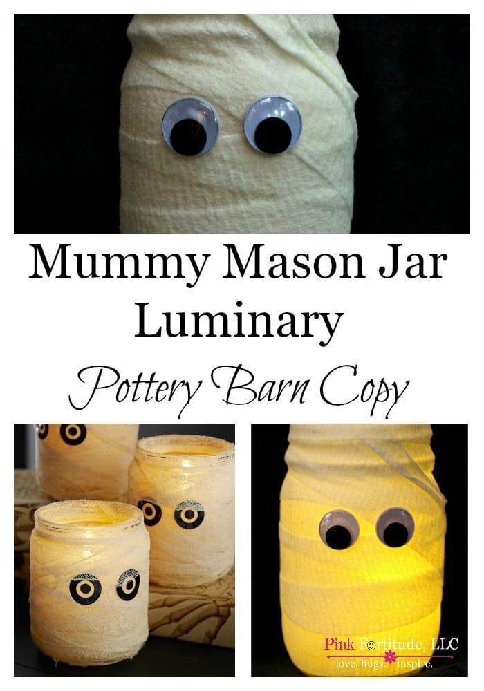 Mummy mason jar luminary: great DIY Halloween decor idea.
