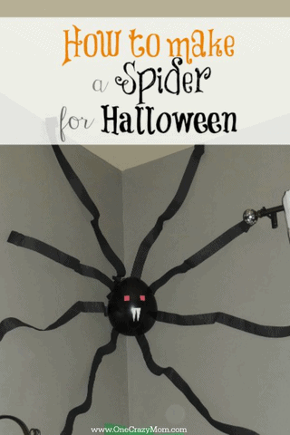 Easy giant spider is a cheap DIY Halloween decor project.