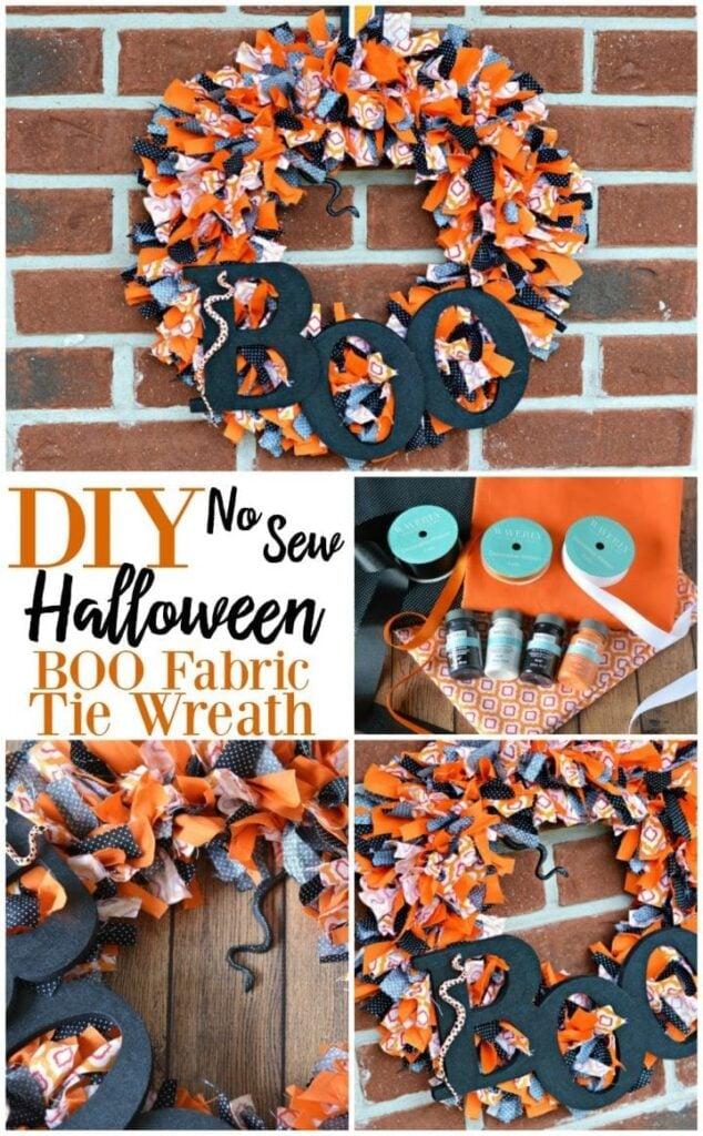DIY no sew Halloween boo fabric wreath made with multi colored fabric strips.