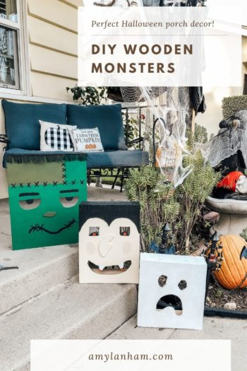 Frankenstein's monster, vampire and ghost wooden monsters are great DIY Halloween decoration ideas.