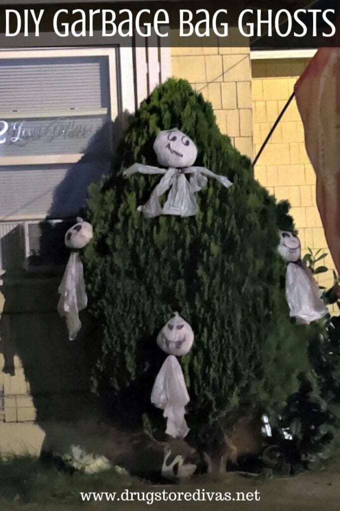 Ghosts made from garbage bags hung in shrubs outside.