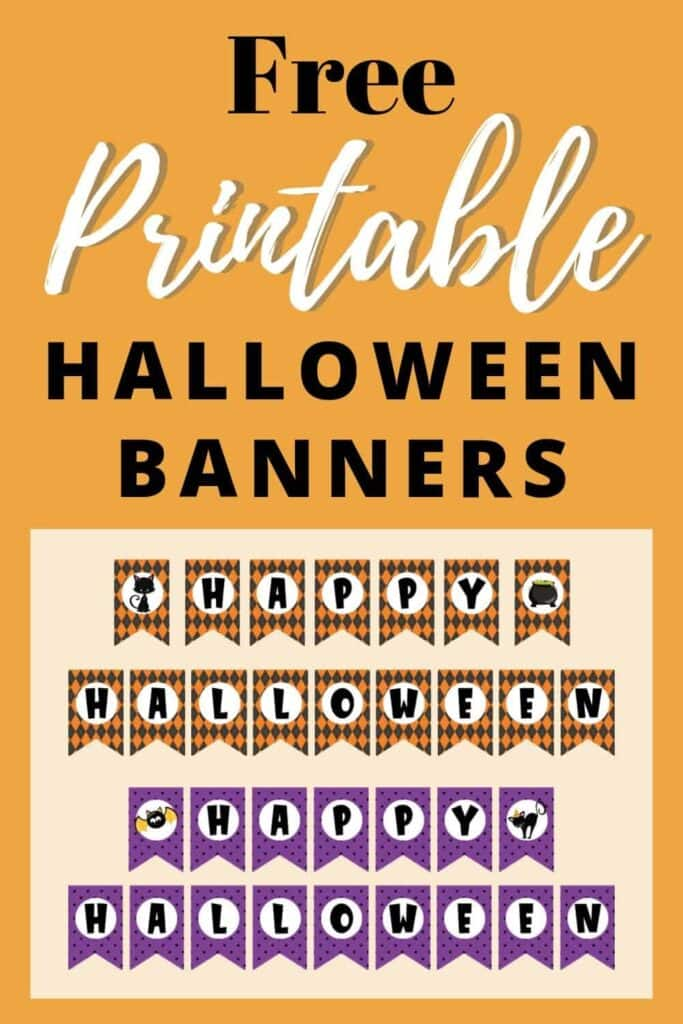 Printable Halloween banners in orange and purple colors make easy and cheap DIY Halloween decor.