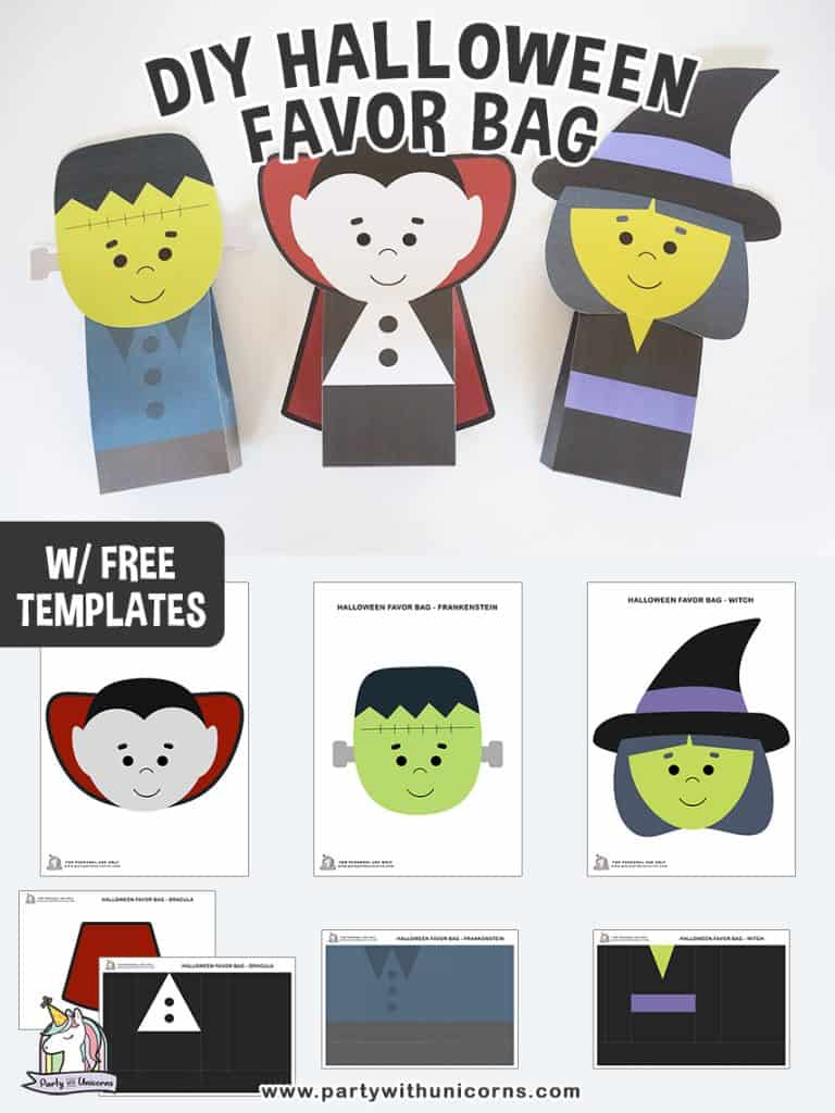 Printable Halloween favor bags: cute Frankenstein's monster, vampire and witch.