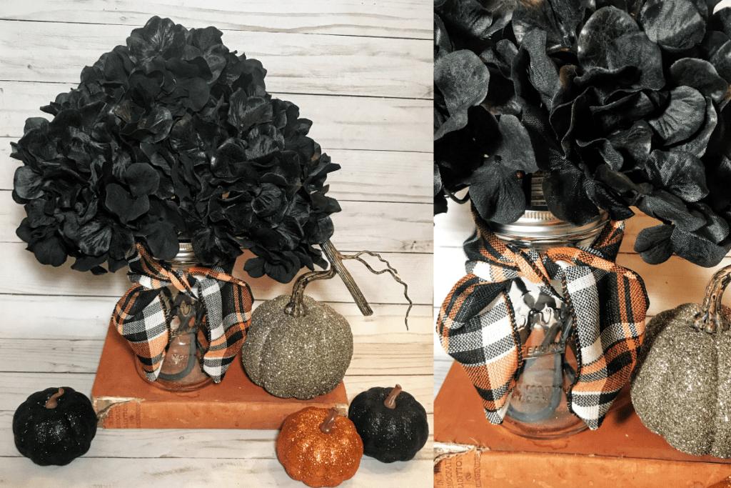 DIY Halloween decor ideas: Black fabric flowers in a Mason jar with black and orange plaid ribbon, glitter pumpkins and an old book.