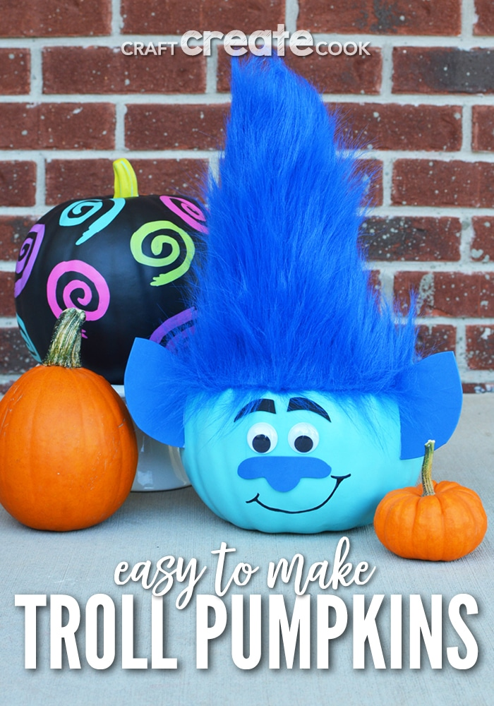 Painted blue troll pumpkins are easy to make for DIY Halloween decor.