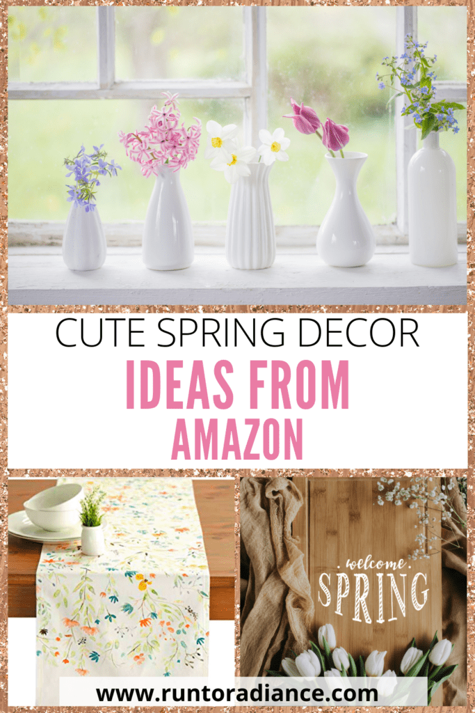 collage of spring decor from amazon