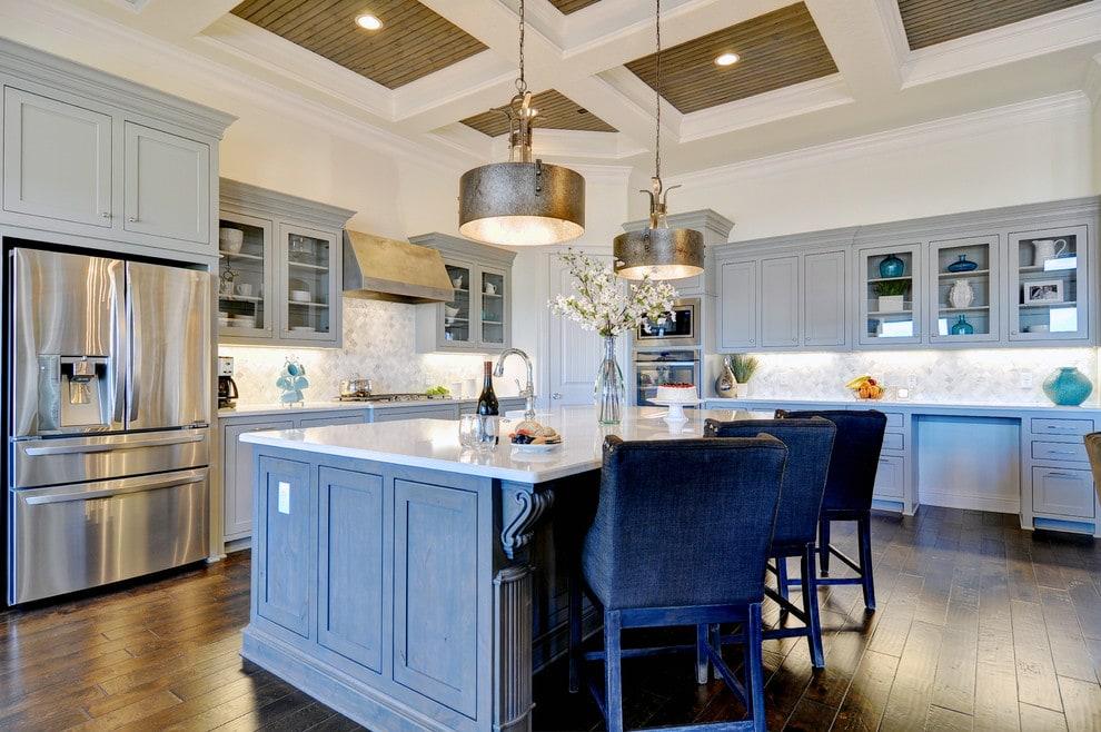 Kitchen with grey kitchen cabinets.