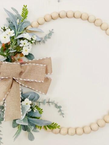 Farmhouse floral wood bead wreath