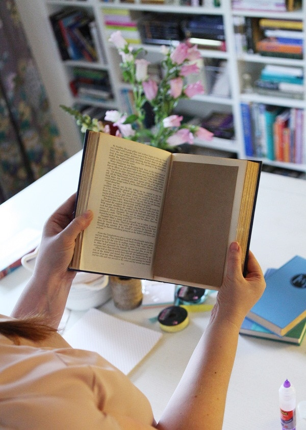 handmade journal made with brown paper in an old hardback