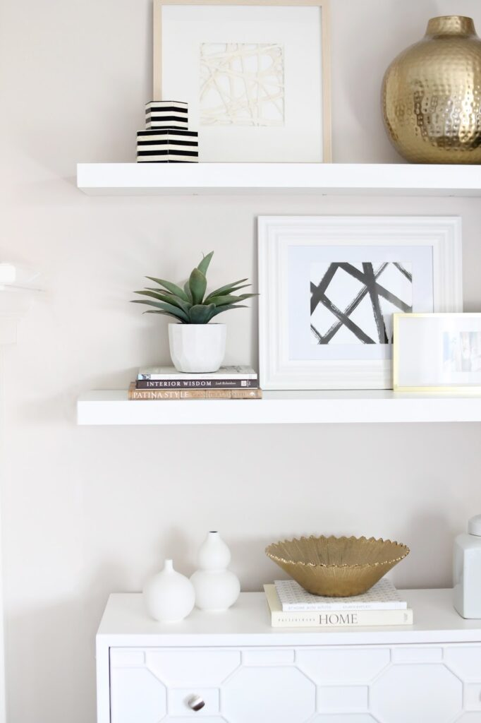 Modern black and white decor for how to decorate shelves.