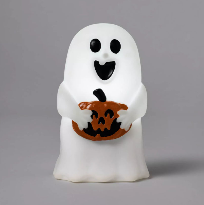 light up ghost holding a pumpkin
