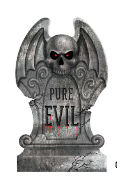Tombstone with a scull and the words pure evil with light up red eyes