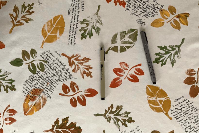 a DIY gratitude tablecloth for thanksgiving