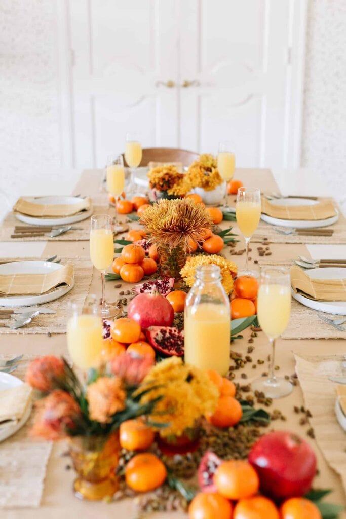 fresh fruit for cheap thanksgiving table decor